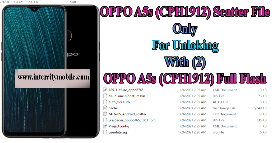 Oppo A5s (CPH1912) Scatter File Only For Unlocking Use 2021