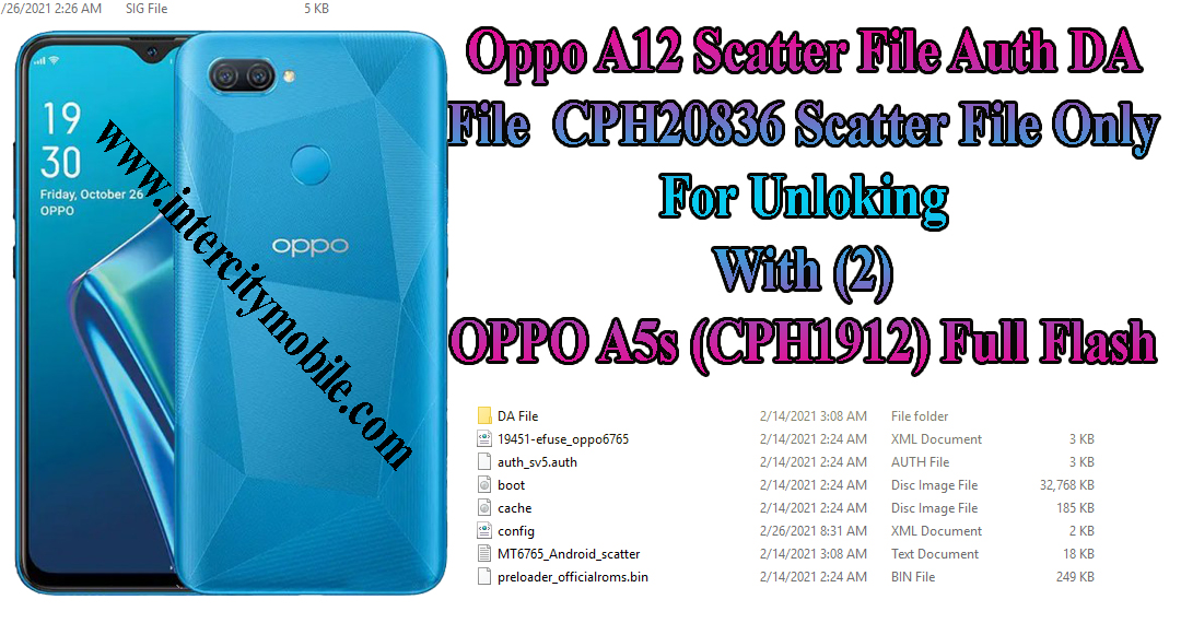 Oppo A12 CPH2083 Scatter File Only For Unlocking Use 2021